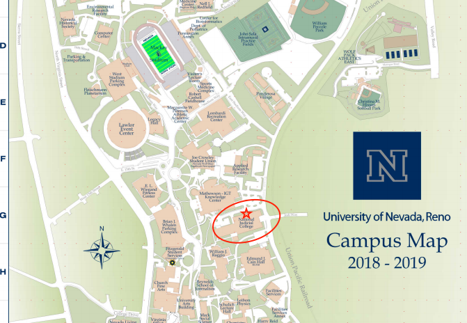 location of CASAT on UNR Map. Located in the NJC Building, north entrance