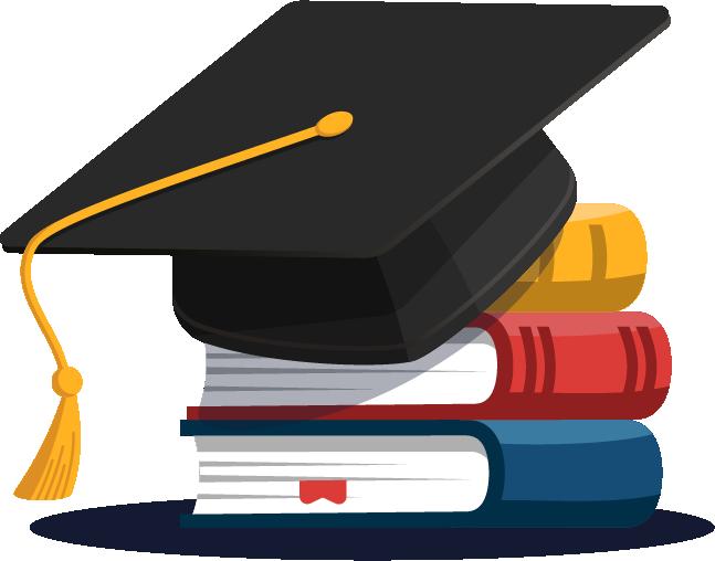 Graduation Cap on stack of three books
